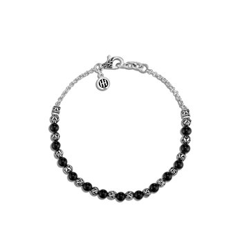 Classic Chain 4MM Bead Bracelet in Silver with Gemstone