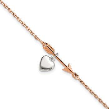 Sterling Silver Rose-tone Arrow w/Heart 7.5in Bracelet