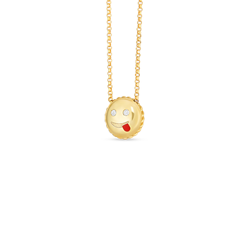 18Kt Gold Joke Emoji Pendant With Diamonds