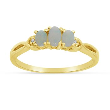 14k Yellow Gold Oval Opal And Diamond Three Stone Ring