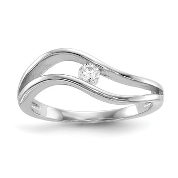 Sterling Silver Rhodium-plated Wavy CZ Ring