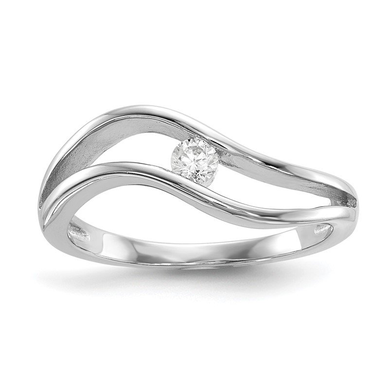 Arizona Diamond Center Collection Sterling Silver Rhodium-plated Wavy CZ Ring