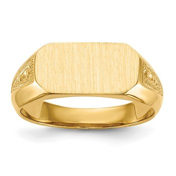 14k 6.0x12.5mm Open Back Signet Ring