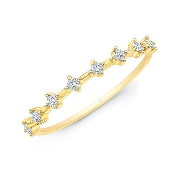 Yellow Gold Offset Diamond Prong Stackable Band