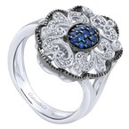 Gabriel Fashion 925 Sterling Silver Vintage Inspired Multi Color Stones Fashion Ring