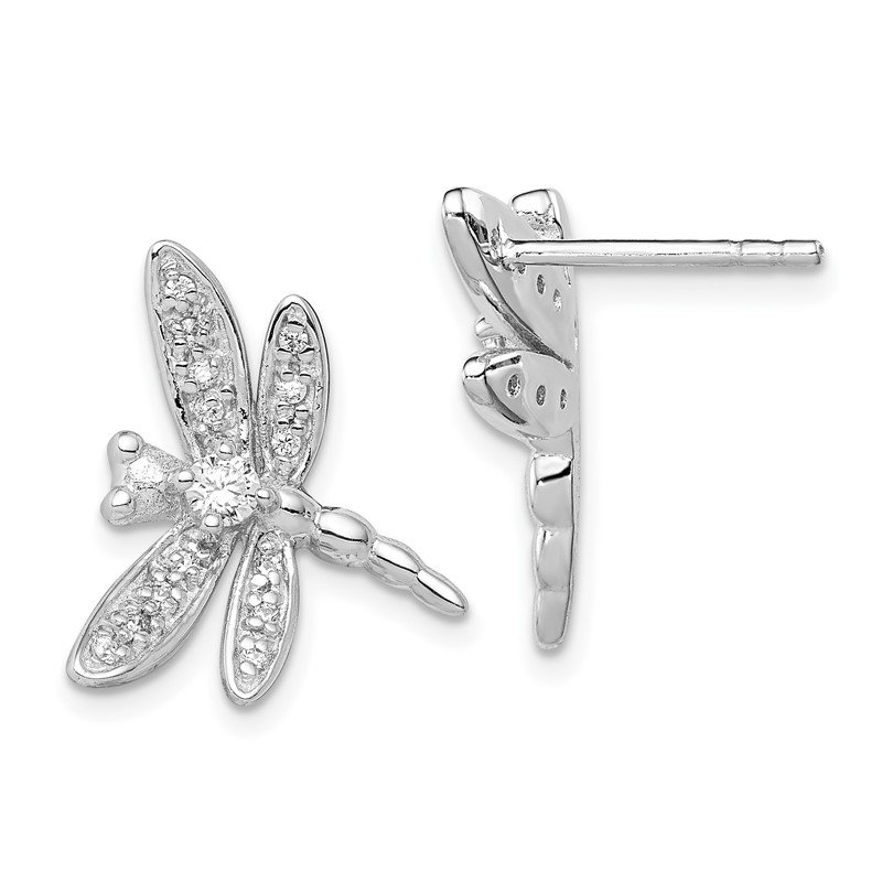 Quality Gold Sterling Silver Rhodium-plated CZ Dragonfly Post Earrings