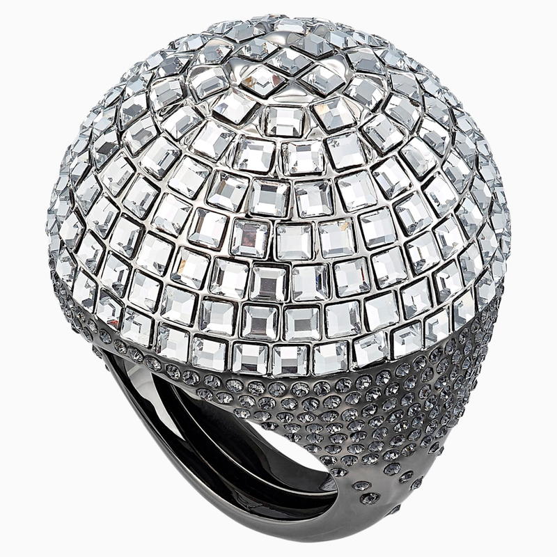 Swarovski Celestial Fit Cocktail Ring, Gray, Black Ruthenium