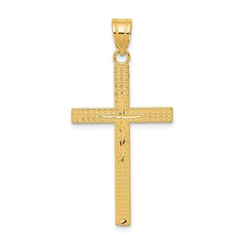 14K Diamond-cut Latin Cross Pendant