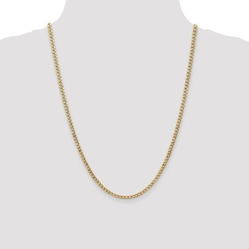 14k 3.35mm Semi-Solid Curb Chain Anklet