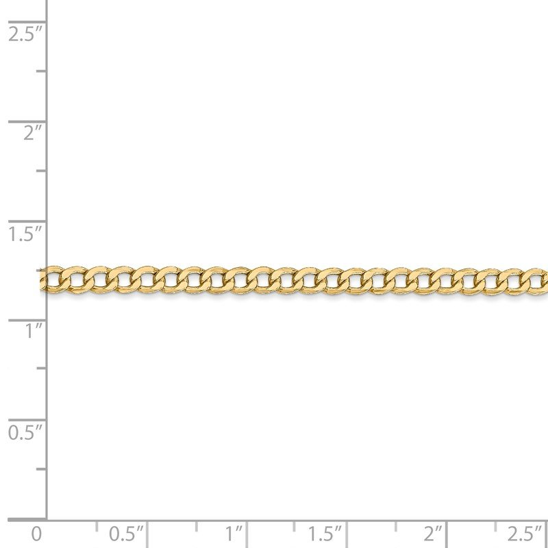 Quality Gold 14k 3.35mm Semi-Solid Curb Chain Anklet