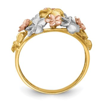 14K Two-tone & White Rhodium Brushed & Polished D/C Plumeria Ring