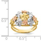 Quality Gold 14K Two-tone & White Rhodium Brushed & Polished D/C Plumeria Ring