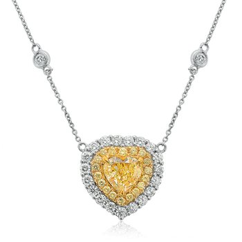 Double Halo Diamond Heart Necklace