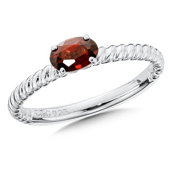 Sterling Silver Garnet Stacking Ring