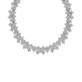 Wide Link Collar With Diamonds
