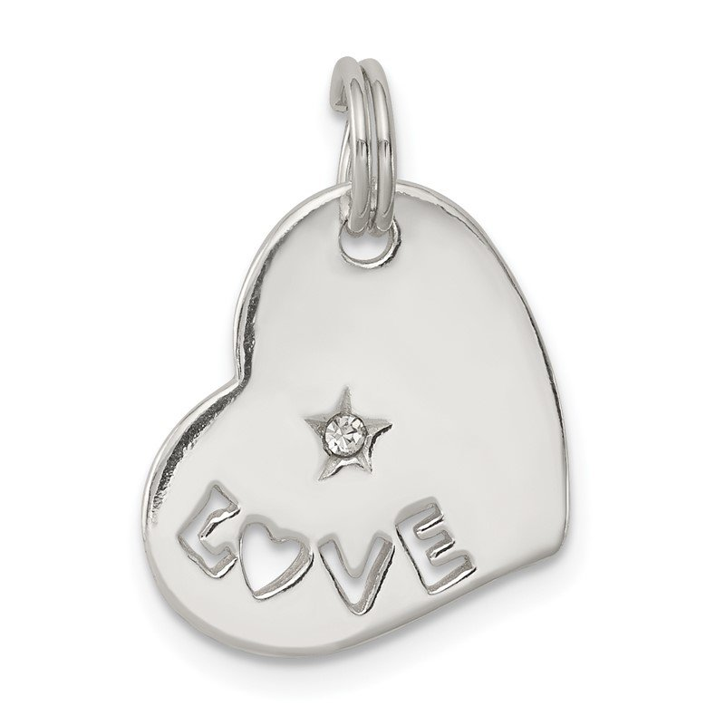 Quality Gold Sterling Silver Polished LOVE CZ Heart Charm
