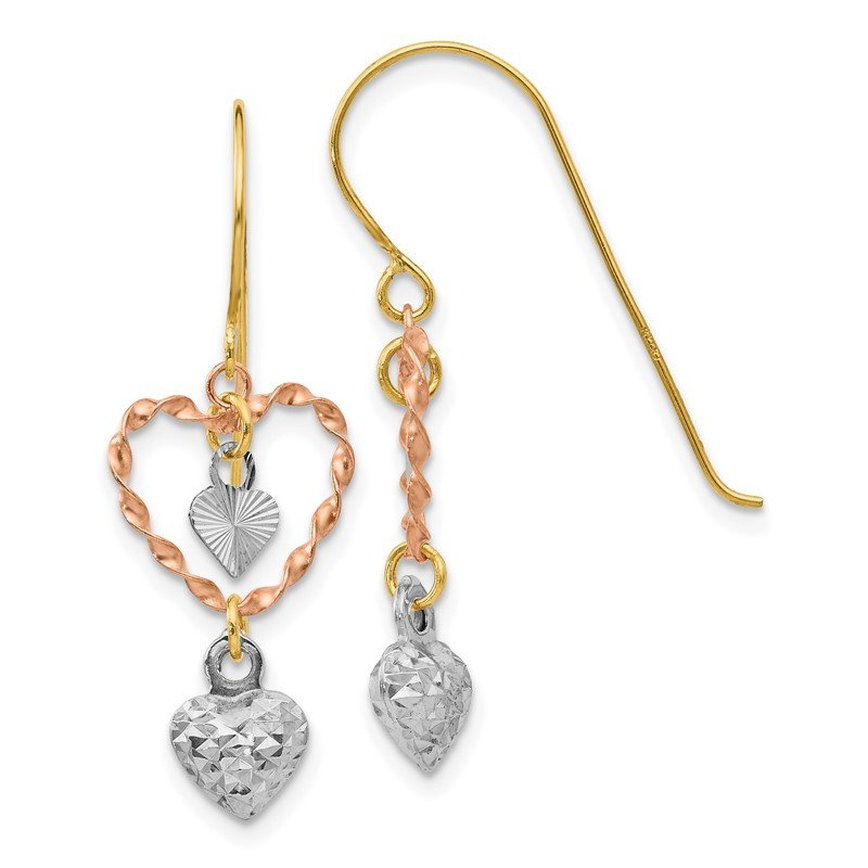Quality Gold 14k Tri-color Diamond Cut Heart Dangle Earrings
