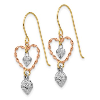 14k Tri-color Diamond Cut Heart Dangle Earrings
