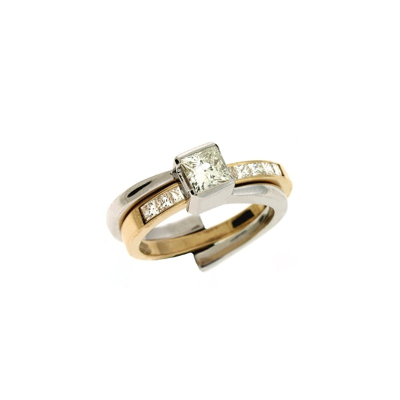 S. Kashi  & Sons Yellow & White Gold Engagement Ring