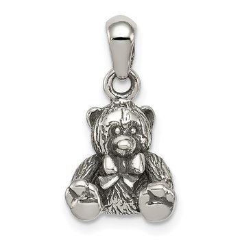 Sterling Silver Polished Textured Bear Pendant