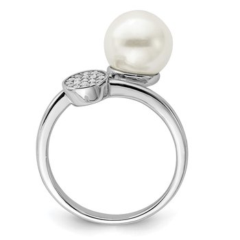 Sterling Silver Rhodium-plated Polished with CZ and Acrylic Pearl Ring