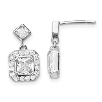 Sterling Silver Rhodium-plated CZ Square Halo Post Dangle Earrings