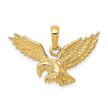 14k Solid Polished Eagle Landing Pendant