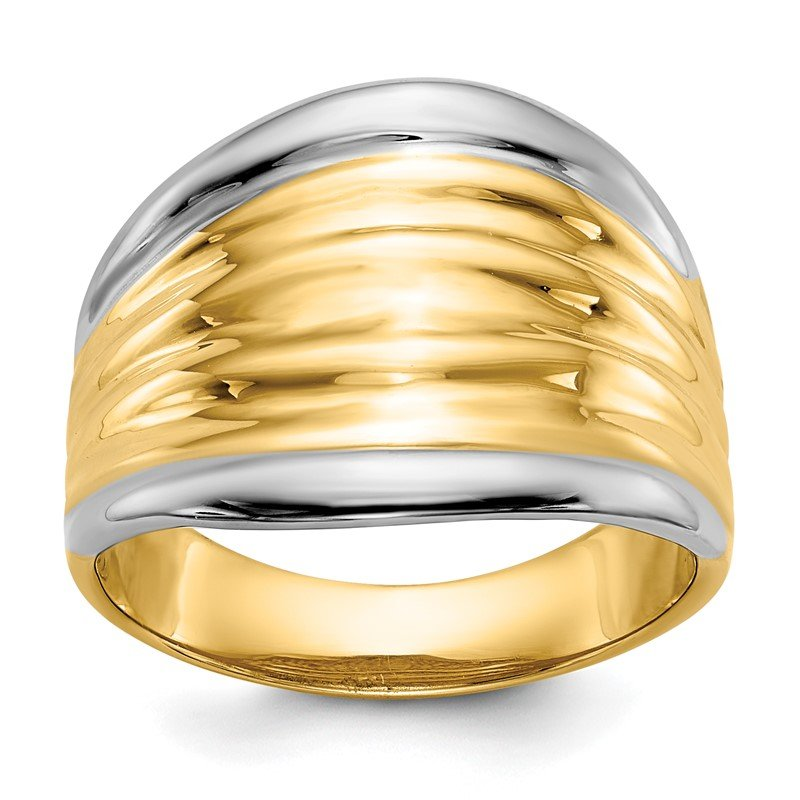 Quality Gold 14k & Rhodium Fancy Dome Ring