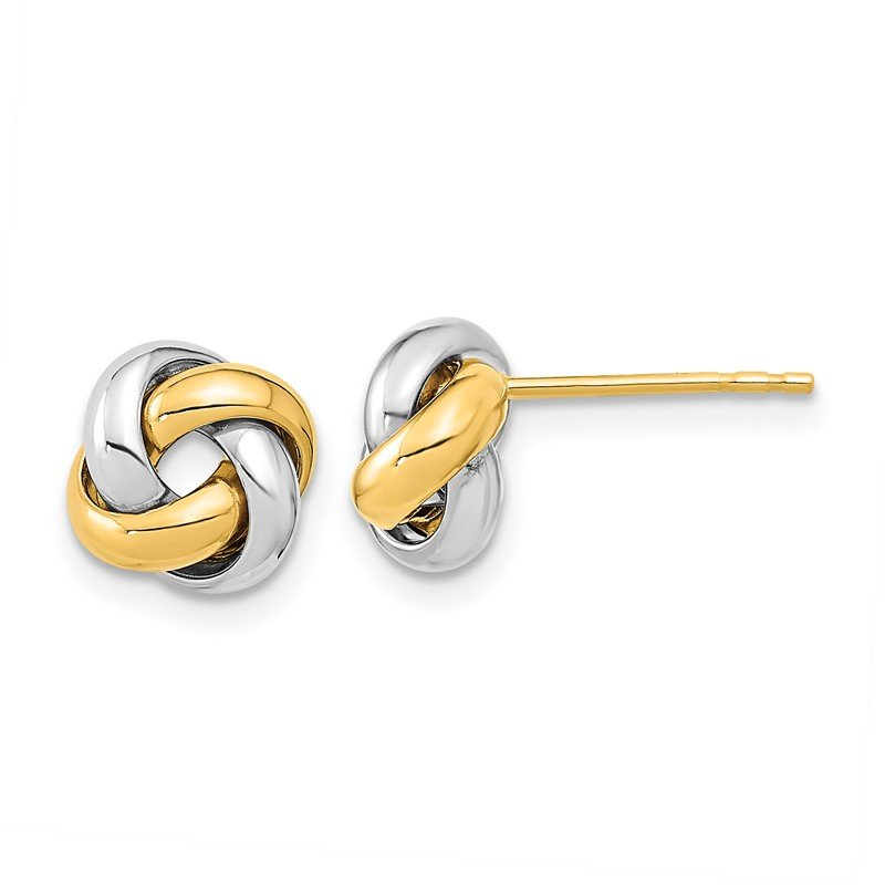 Quality Gold 14k Two-Tone Polished Love Knot Post Earrings