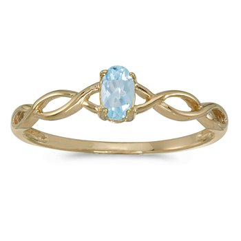 10k Yellow Gold Oval Aquamarine Ring