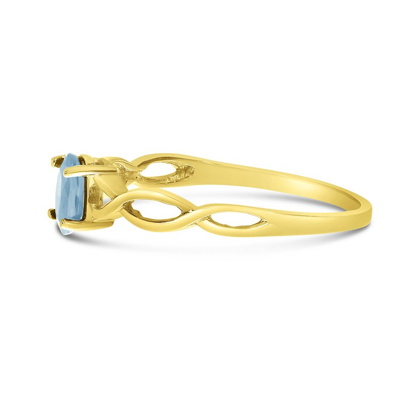 Color Merchants 10k Yellow Gold Oval Aquamarine Ring