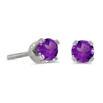 3 mm Petite Round Amethyst Screw-back Stud Earrings in 14k White Gold
