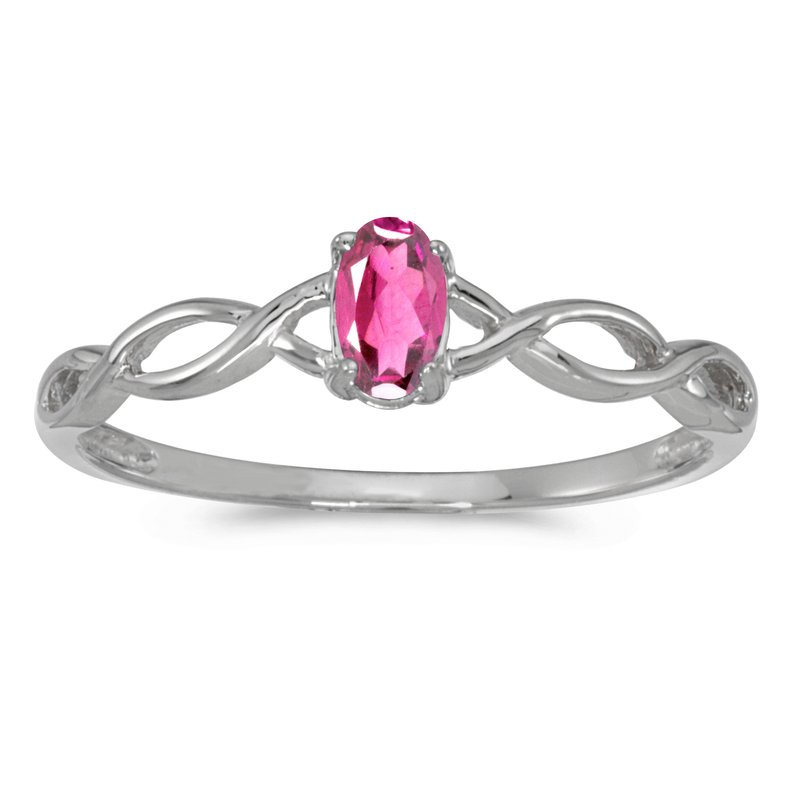 Color Merchants 10k White Gold Oval Pink Topaz Ring