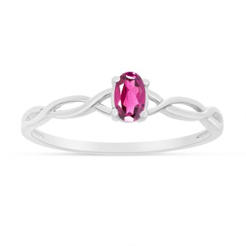 10k White Gold Oval Pink Topaz Ring
