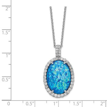 Cheryl M SS Rhodium Plated CZ & Created Blue Opal 18.5in Necklace