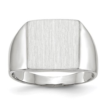 14k White Gold 13.0x13.0mm Closed Back Signet Ring