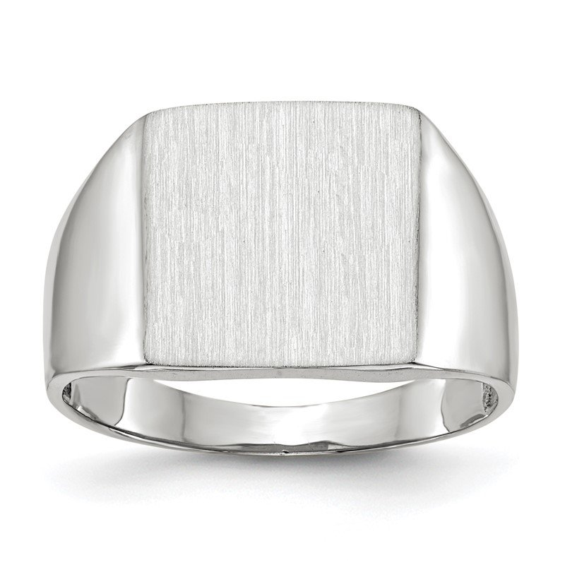Quality Gold 14k White Gold 13.0x13.0mm Closed Back Signet Ring