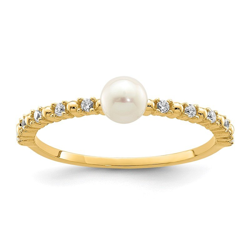 Quality Gold 14K Madi K 3-4mm White Button Freshwater Cultured Pearl CZ Ring