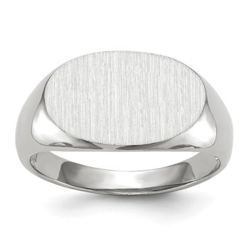 14k White Gold 11.0x17.0mm Open Back Men's Signet Ring