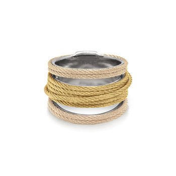 Carnation & Yellow Cable Simple Stack Ring