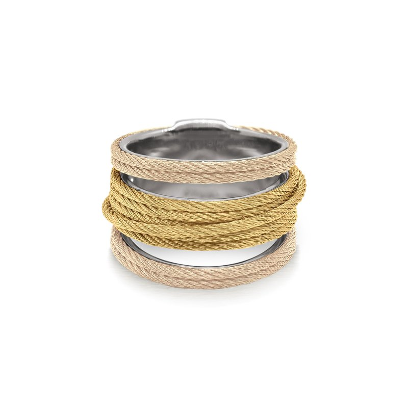 ALOR Carnation & Yellow Cable Simple Stack Ring