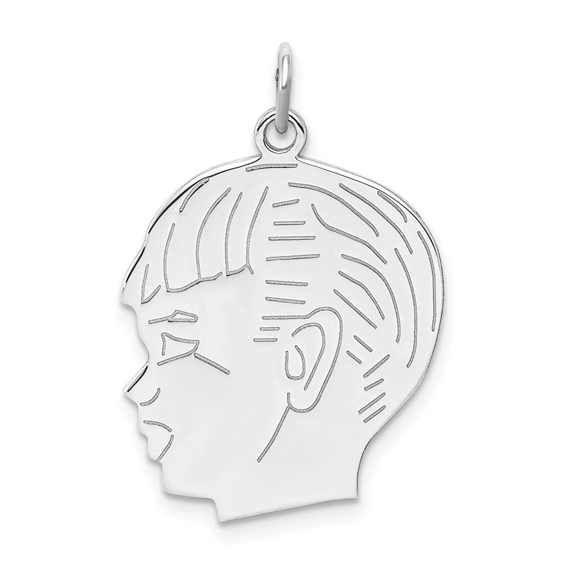 Quality Gold Sterling Silver Rhod-plated ENG. Boy Polished Front/Satin Back Disc Charm