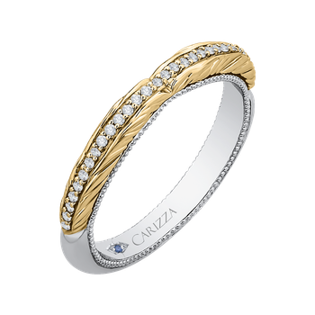 Round Diamond Half-Eternity Wedding Band In 18K Two-Tone Gold