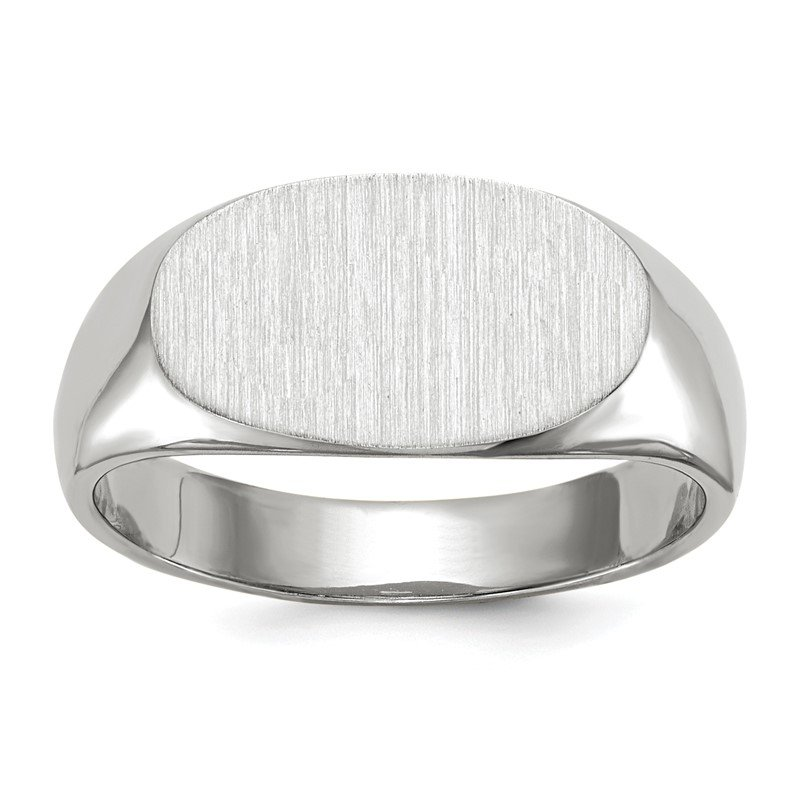 Quality Gold 14k White Gold 7.5x13.5mm Closed Back Signet Ring