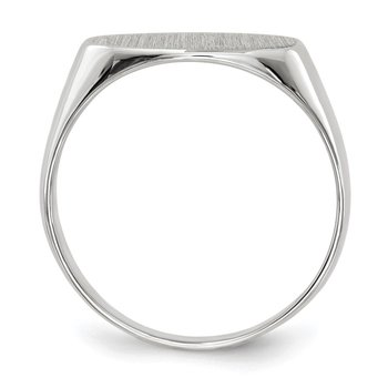 14k White Gold 7.5x13.5mm Closed Back Signet Ring