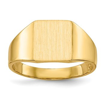 14k 9.0x8.5mm Closed Back Signet Ring