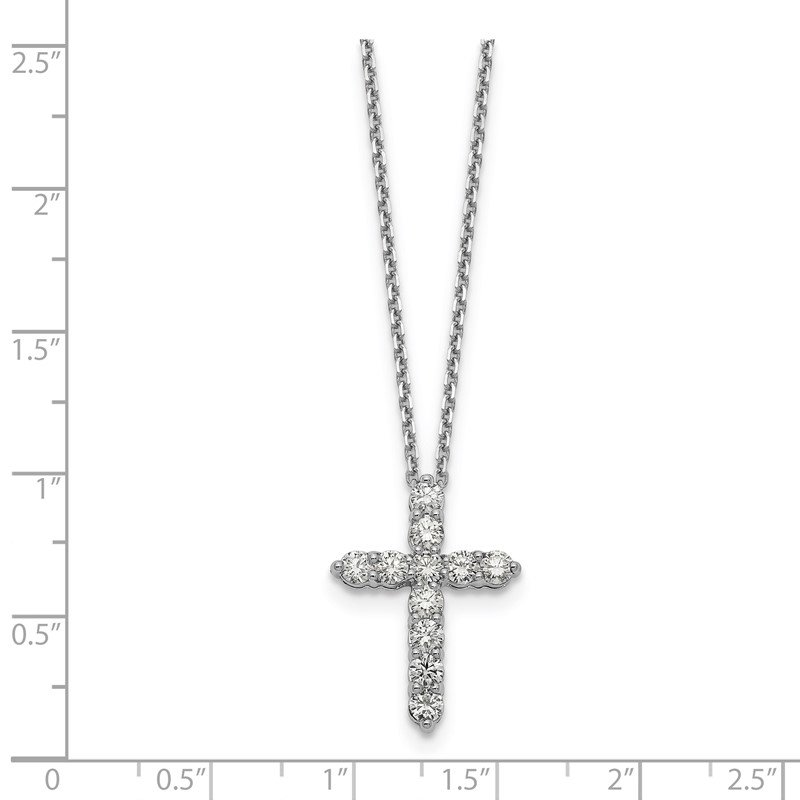 Quality Gold 14k White Gold Diamond Cross 18 inch Necklace