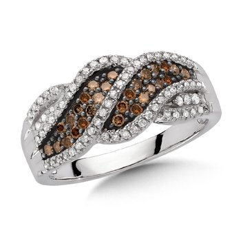 Pave set,  Cognac and White Diamond Fashion Ring with a  Layered Swirl Design set in 10k White Gold (1/2 ct. tw.)