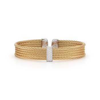 Yellow Cable Mini Cuff with 18kt White Gold & Diamonds