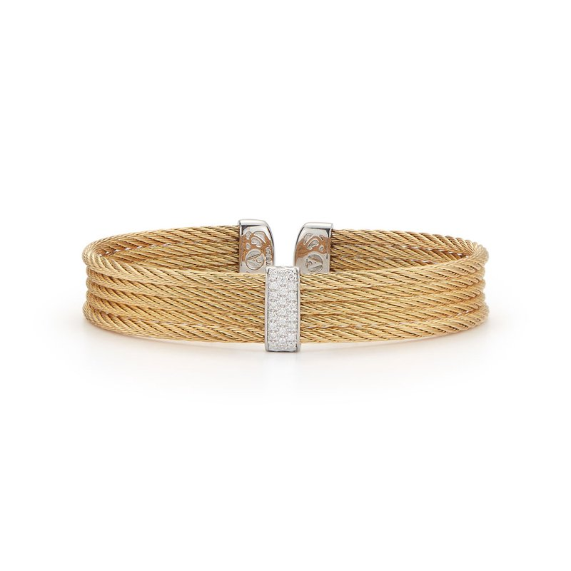 ALOR Yellow Cable Mini Cuff with 18kt White Gold & Diamonds